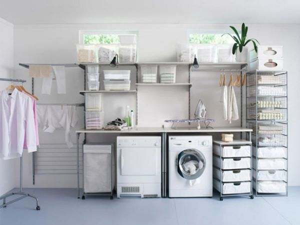 laundry room open shelves design