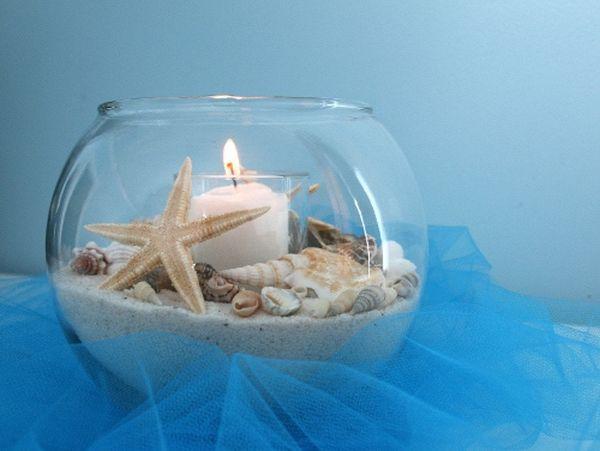 seashells and sand items decoration