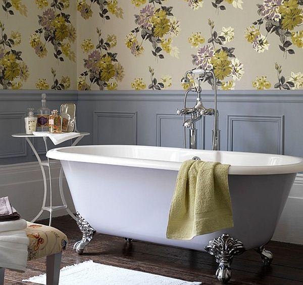 flower prints on bathroom wall