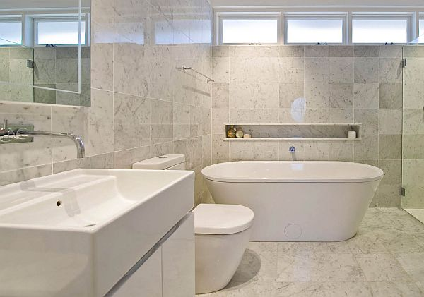 natural marble in bathroom