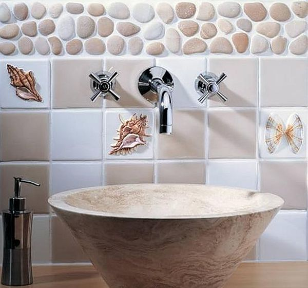 shells decor in bathroom