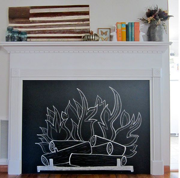 Fireplace chalkboard
