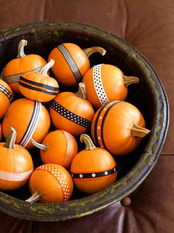 wrap double stick patterned tapes around the pumpkins