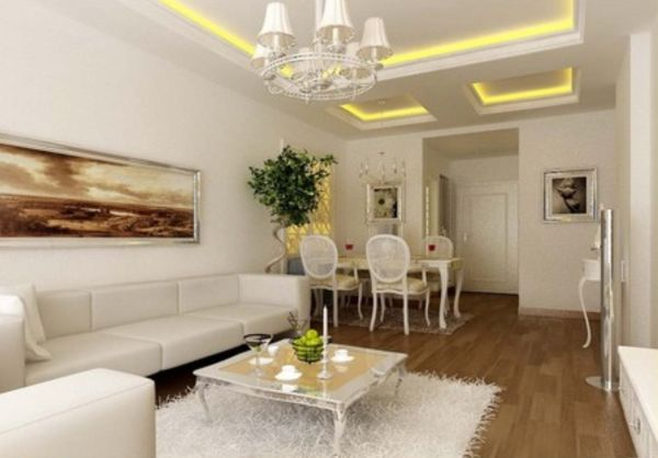Ceilings in room with white décor accessories