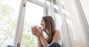 lady on window
