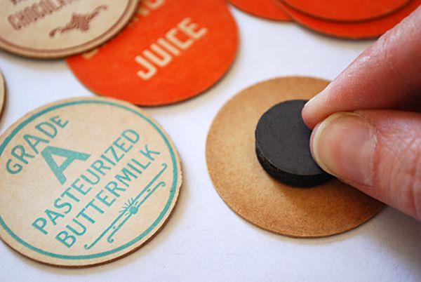 Bottle caps for fridge magnets