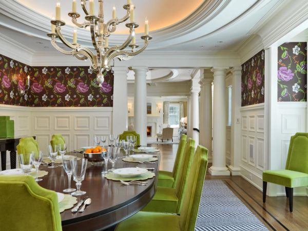 Flower shaped lights in dinning room