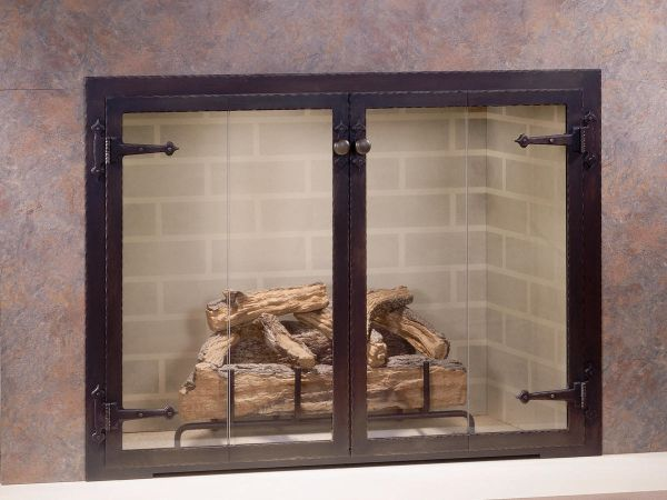 Glass door fireplaces
