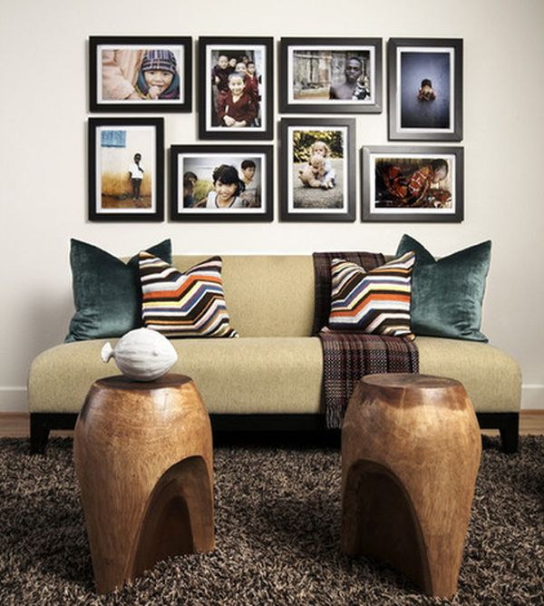 Horizontal and vertical photographs OF FAMILY ON WALLS