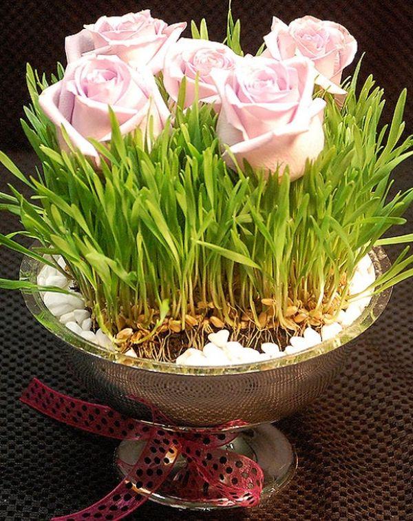 Wheatgrass and flower centerpiece