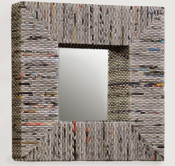 newspaper mirror frame