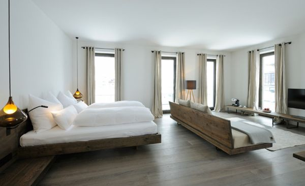 warmth of wood with white walls