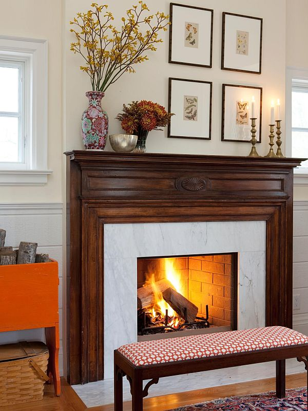 Arrange vases above the fireplace