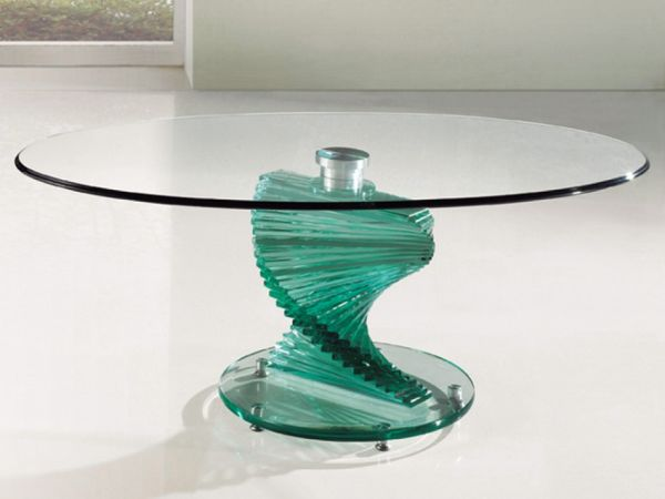 Clear 2 tier glass coffee table