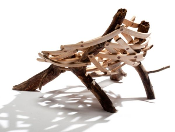 Nest shaped chair made of Rough Wood