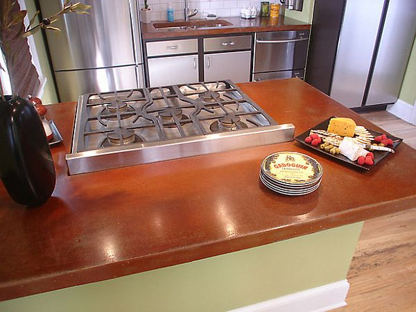 Poured concrete Kitchen countertops