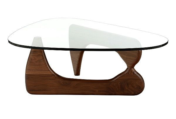Walnut clear glass triangular table