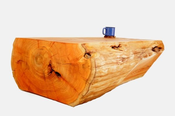 Wooden log coffee table