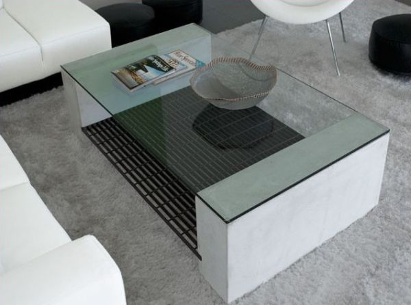 Glass and concrete table