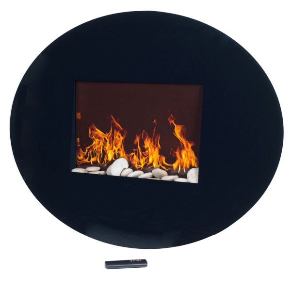 Northwest black oval glass panel electric fireplace