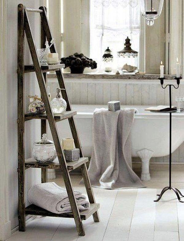 triangular shelves in bathroom