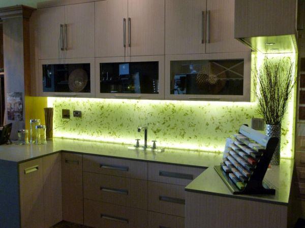 Glass backsplash with LED