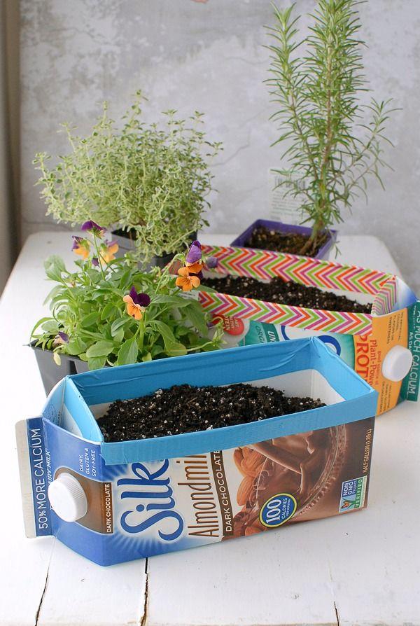 Milk carton planters