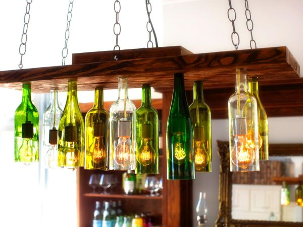 Old bottles into chandeliers