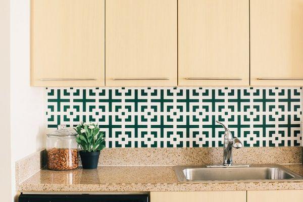 Fabric Wallpaper Kitchen Backsplash