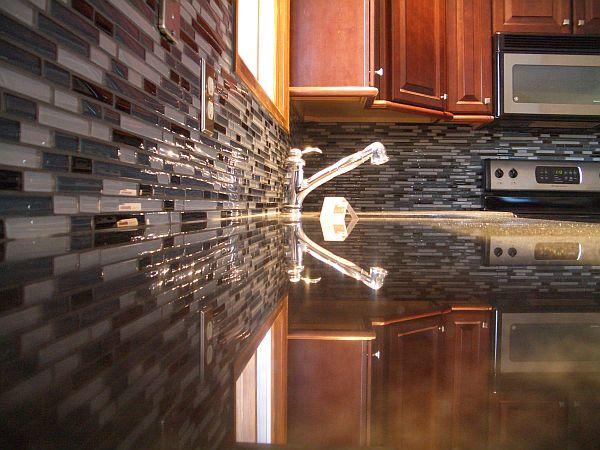 Glass tile kitchen backsplash 1