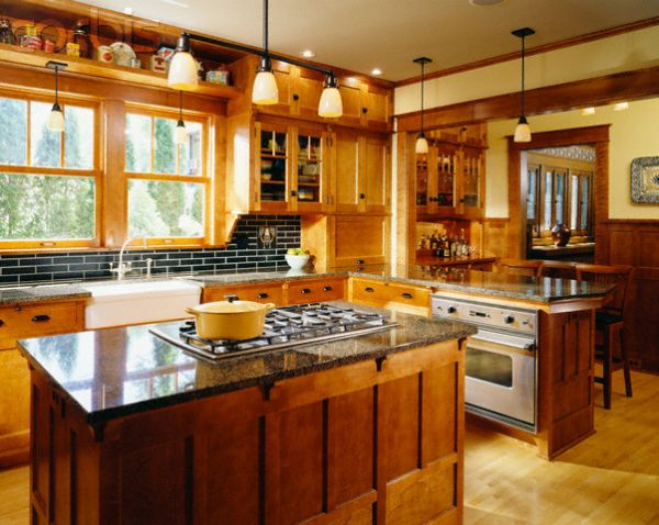 Warm Wood Kitchen With Stovetop on Kitchen Island