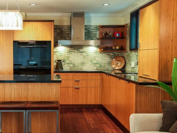chic bamboo kitchen cabinets 1