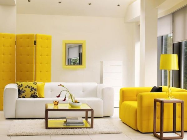 yellow interior walls, yellow design