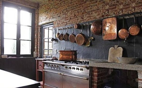 Kitchen brick walls