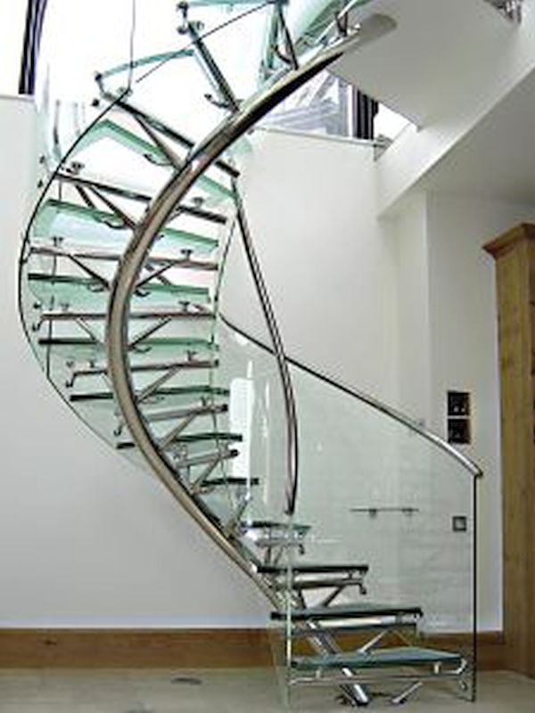 Spiral glass staircase