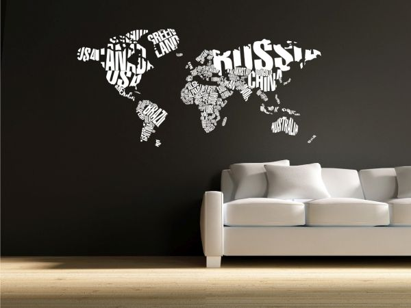 World Map Typographic Wall Decals 1