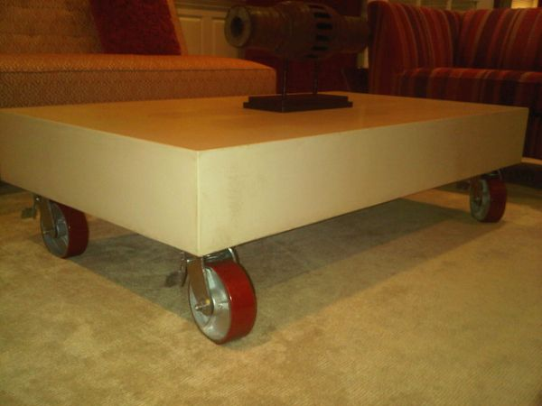 Concrete Table on Wheels