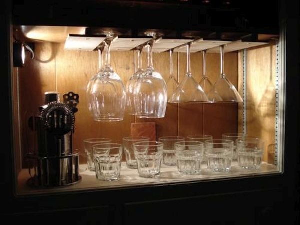 Hidden wine glass rack