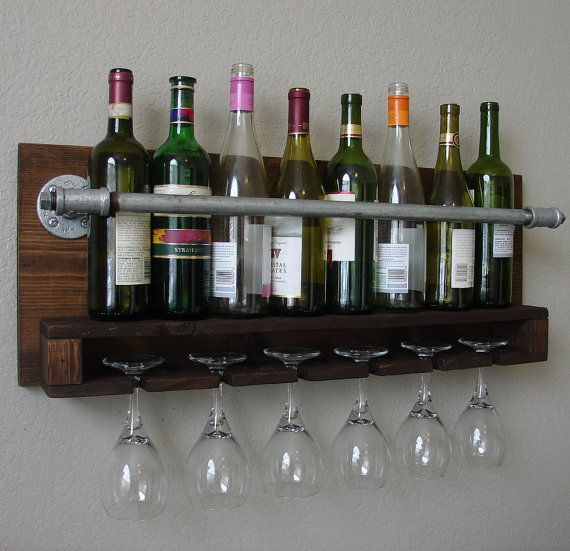 Wall mounted glass wine rack