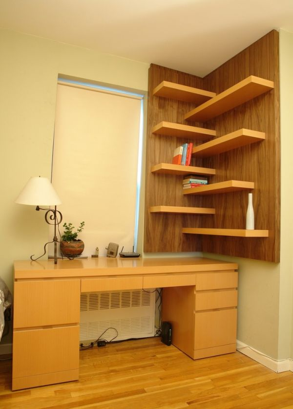 Workspace corner shelving