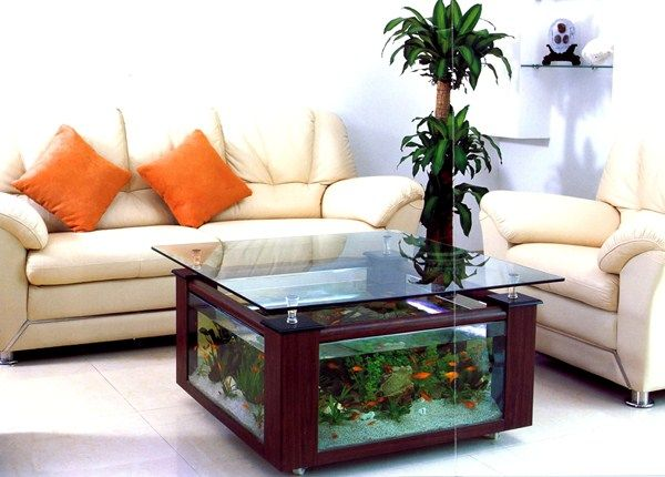 home decor with built-in aquarium