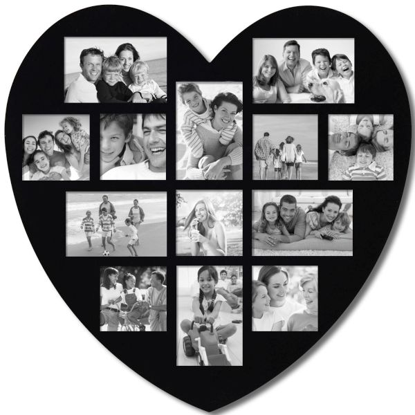 Black and white wooden heart wall hanging