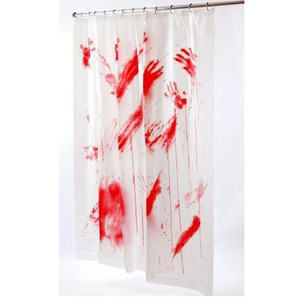Bloody Psycho Halloween Shower Curtain