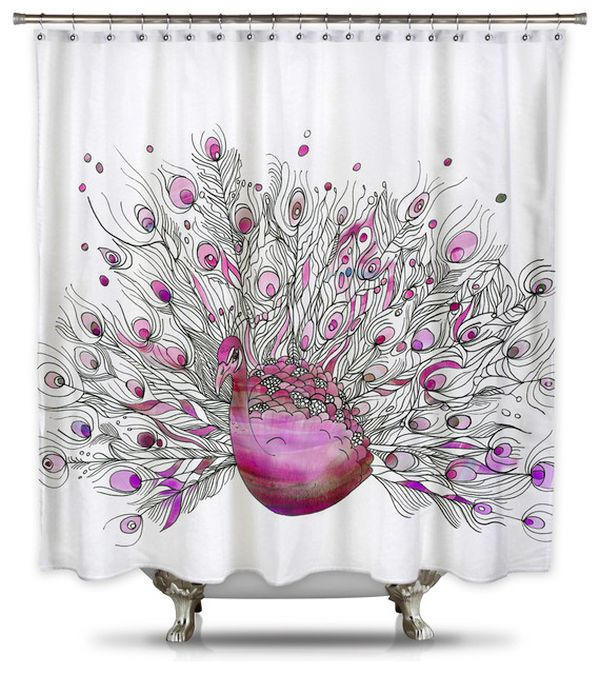 Pink Peacock Fabric Shower Curtain
