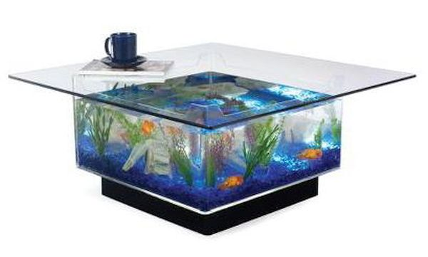The home decor with built-in aquarium