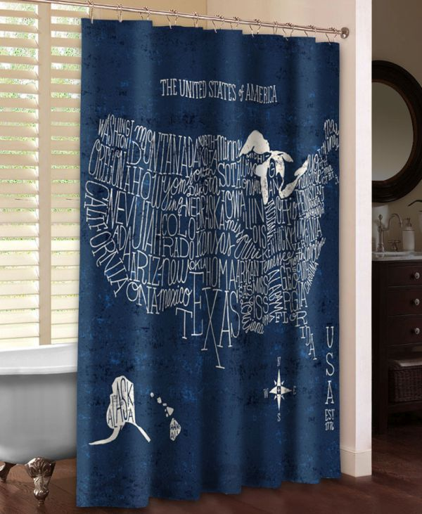 US Map Blueprint Shower Curtain
