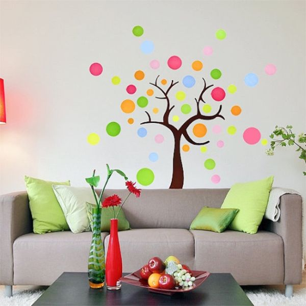 Tree shaped polka dot wall decal