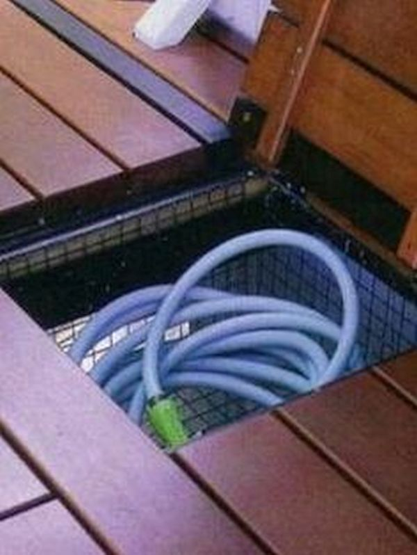 Hide Hoses and Gardening Equipment with Wooden Planters