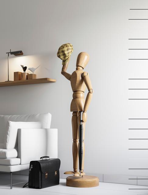 Minimalist interior with wooden man hatstand