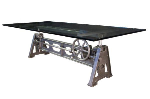 Vintage Industrial Cast Iron Adjustable Table Base